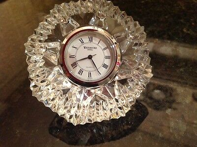Waterford Crystal Lismore Paperweight Clock Made In Ireland Never Used EC