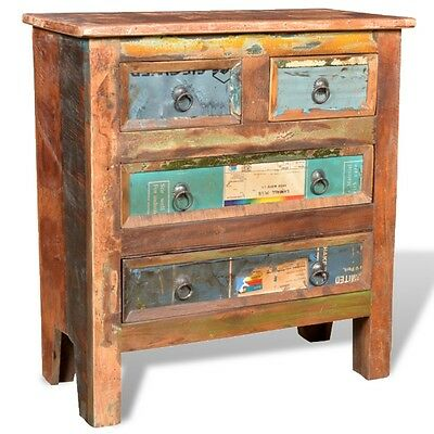 S# Reclaimed Recycled Solid Wood Cabinet Storage Bedside Chest Distressed Rustic