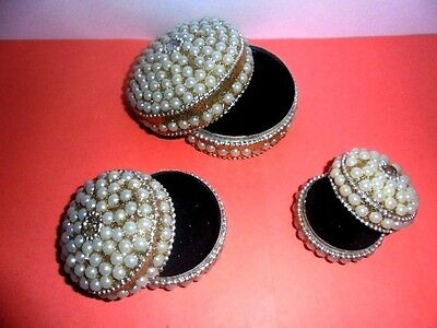 Rare Handmade Decorative Trinket Boxes Set of 3 Home Decor Handcrafted Art India