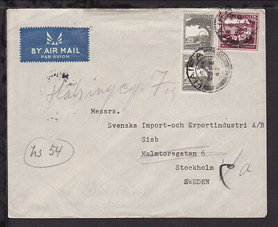PALESTINE 1947 COVER to SWEDEN Multiple Franking