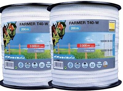 Horizont Pack Of 2 Electric Fence Tape Farmer T20-W 200 Metres 20Mm