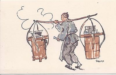 China 1930-40s Friedrich Schiff postcard of food seller unused