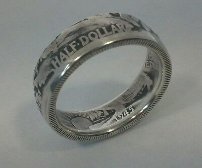 Vintage Silver Half Dollar Coin Ring 1945 Size `T`  8.94 grams