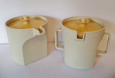 Vintage Tupperware Creamer and Sugar Bowl Almond & Harvest Gold Lids 1414 & 1415