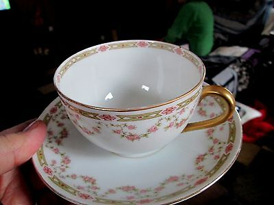VICTORIA AUSTRIA PINK ROSE SWAG CUP& SAUCER SET(S) VTO31 5 Available
