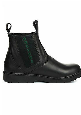 NEW DROVERS Australia Genuine Leather Pull On School Boots Black Kids Size AU12