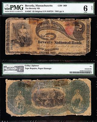 ULTRA RARE Original Series 1865 $2 LAZY DEUCE Beverly, MA National Note! PMG 6/n