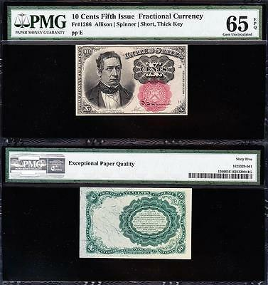 Amazing GEM UNCIRCULATED 5th Issue 10 cent Fractional! PMG 65 EPQ FREE SHIP TC30