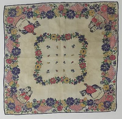 "VTG Handkerchief GONE WITH THE WIND Rhett & Bonnie Blue 13X13"" Dk.Purple & Pink"