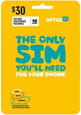 Australia Optus Mobile $30 Prepaid SIM with 1.5G data and call credit (3G/4G)