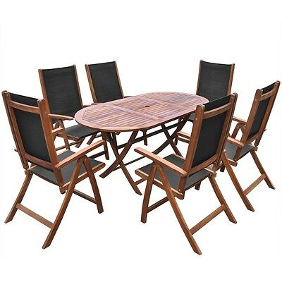 7 Piece Outdoor Folding Dining Set Acacia Wood and Textilene Oval Table Garden