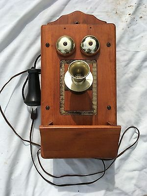 Vintage Wall Mount AM Radio Telephone Working Condition Man Cave Cabin Decor