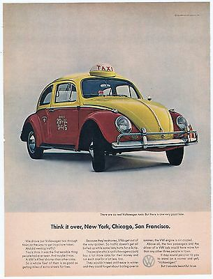 1964 Volkswagen Red Yellow Taxi Cab VW Beetle Vintage Original Car Ad Free Ship