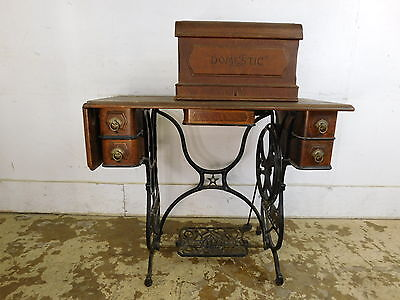 Early Antique Domestic Sewing Machine New York w Oak & Iron Base & Accessories