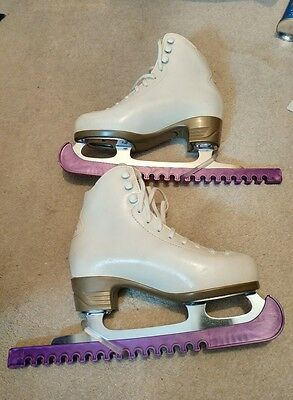 Risport white ice skates size 1 with skate guards