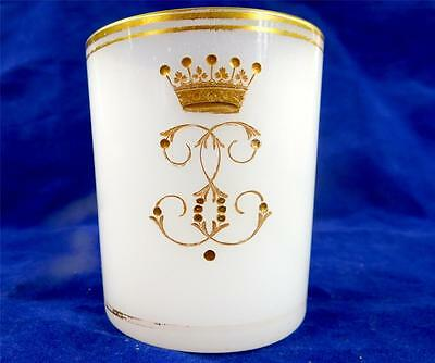 Antique 19Th Century Heraldic Opaline Glass Beaker - Earl Coronet Monogram