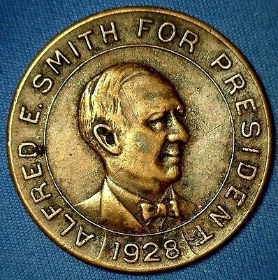 """Vintage 1928 Alfred E. Smith For President Token - """"All For AL and AL For All"""""""