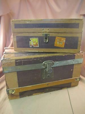 Vintage Pair of Wooden Trunks Brass Hardware Travel Stickers Nesting Small Sized
