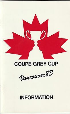 1983 Grey Cup Information Book CFL Vancouver Mint!