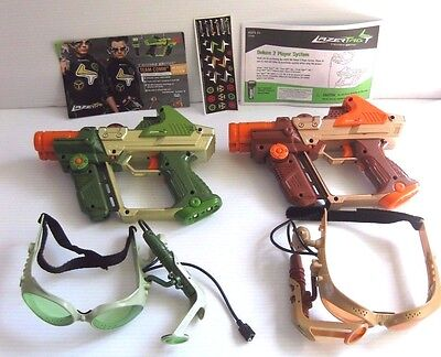 LAZER TAG Tiger Electronics TEAM OPS 2 Laser Guns & 2 Goggles + Instructions LOT