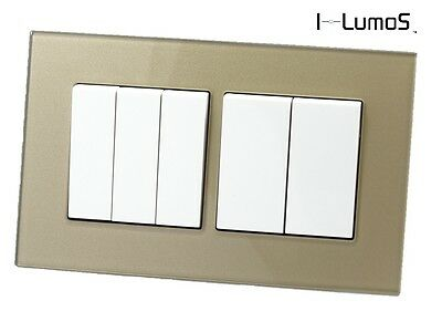 I LumoS AS Luxury Gold Glass & White 13A Single/Double Sockets & Light Switches