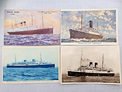 A 74    Group  Of 4 Steam Ships Vintage Postcards