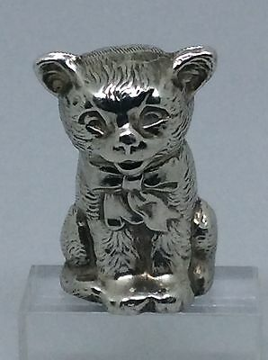 Rare 1913 Solid Silver Novelty Cat Pin Cushion Henry Williamson
