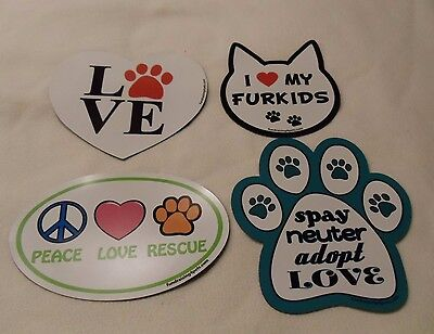 LOT OF FOUR NEW Magnets PET LOVERS Peace Love Rescue Spay Neuter Adopt Love