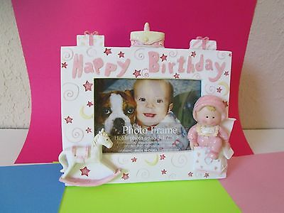 HAPPY BIRTHDAY Pink BABY GIRL PHOTO FRAME  Newborn ONE YEAR Toy Rocking Horse