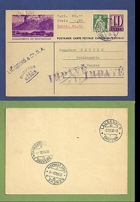 Switzerland Schweiz 1938 Cash on Delivery uprated st. postcard cover.
