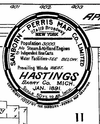 Hastings, Michigan~Sanborn Map© sheets with 18 maps 1884 to 1900 on a CD