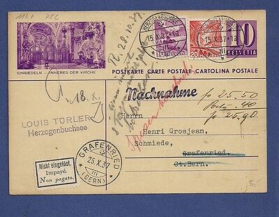 Switzerland Schweiz Cash on delivery uprated st postcard cover 1937.Not paid.