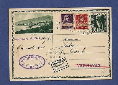 Switzerland Schweiz 1930 Cash on delivery st postcard cover not paid.