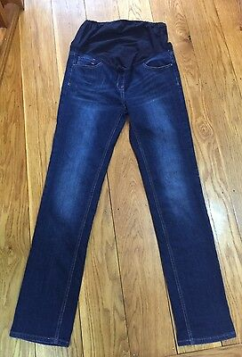 """Next Maternity Over The Bump Skinny Jeans Size 10 Long Leg 31"""" Stretch Tall Blue"""