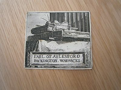 Rare Ex Libris?? Book Plate C 1700 Earl Of Aylsford,heneage Finch