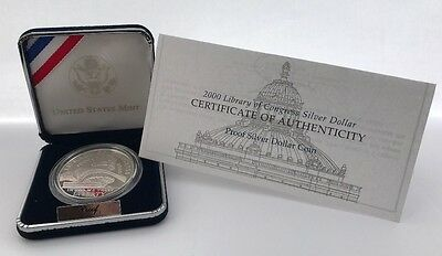 2000 Library of Congress Proof Silver Dollar Commemorative Coin US Mint