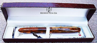 "Edison Collier Antique Marble Steel Nib Fine Point Fountain Pen ""Older Color!"