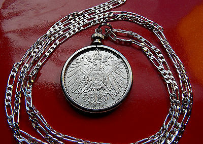"GERMAN EAGLE MARK CHOICE SILVER COINAGE PENDANT 20"" 925 Sterling Silver Chain"