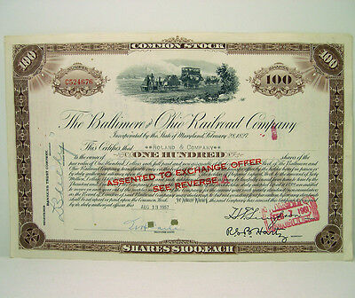 1957 B&o Baltimore Ohio Railroad 100 Shares Train Stock Certificate Bank Note