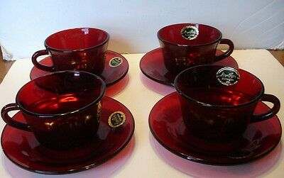 4 Anchor Hocking- Royal Ruby Red Cups & Saucers Lancester, Ohio,