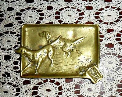 Outstanding & Rare Vintage Heavy Brass English Irish Setter Pointer Dog Ashtray