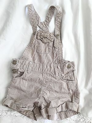 Zara Baby Girl 6-9 Months Overalls One Piece Romper Outfit Shorts Stripes- Cute!