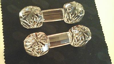 Quality Pair of Vintage Hand Cut Crystal Glass Knife Rests