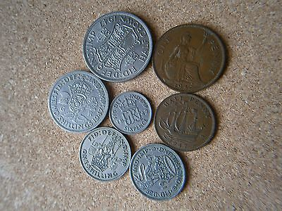 1947 Full set of used British coins, 7 coins.