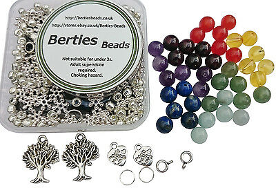 Make your own Chakra Healing Reiki Bead Bracelets Beads Kit Mix makes two