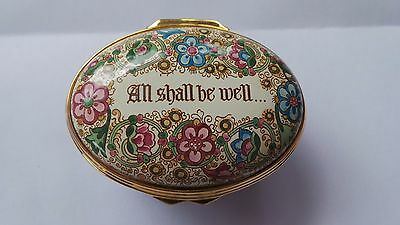 Halcyon Days Floral Enamel Box ~ All Shall Be Well...