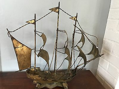 Antique metal 3 mast colonial ship hand made in full sail has age and patina