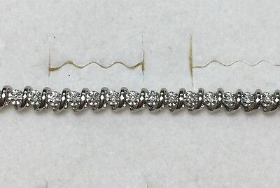1/2 ct natural (REAL) 50 - DIAMOND bracelet SOLID white GOLD (8.4 grams)