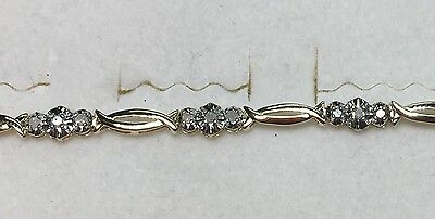 1/5 ct natural (REAL) 24 - DIAMOND  bracelet SOLID yellow GOLD (4 grams)