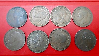 Lot of 8 British/English 1/2 Penny Coins - 1861-1949